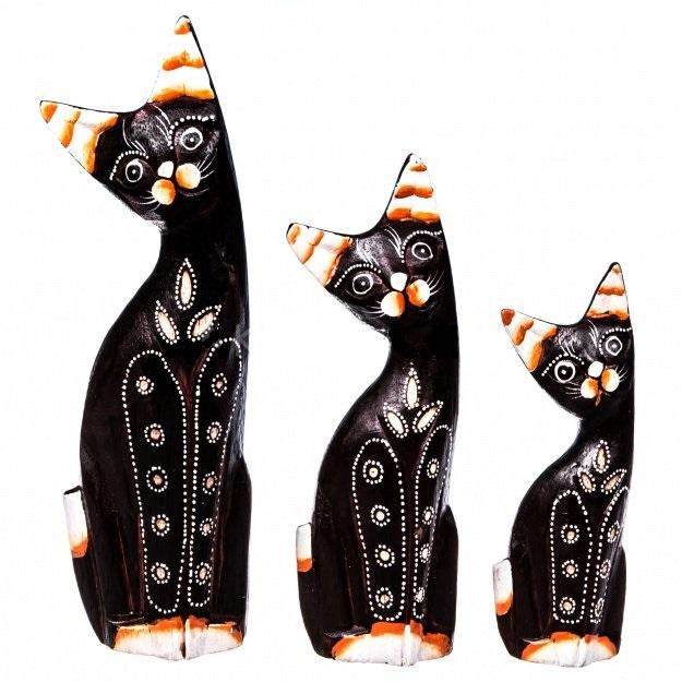 Фигурки Кошки набор 3 шт. 15, 20, 25 см (дерево)