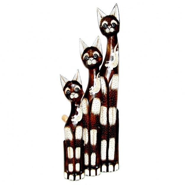 Статуэтки трех котов из дерева 60, 80, 100 см
