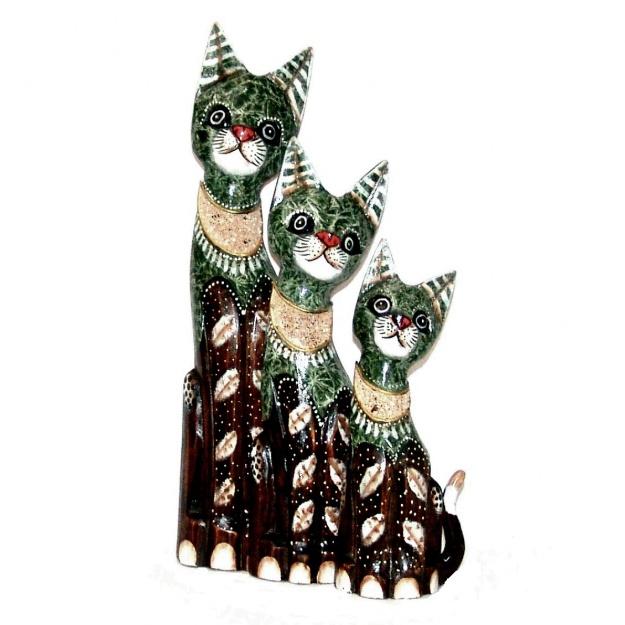 Набор статуэток котов с декором из морского песка
