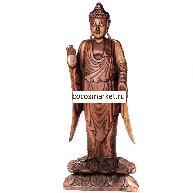 Фигура из цельного дерева Будда 80 см