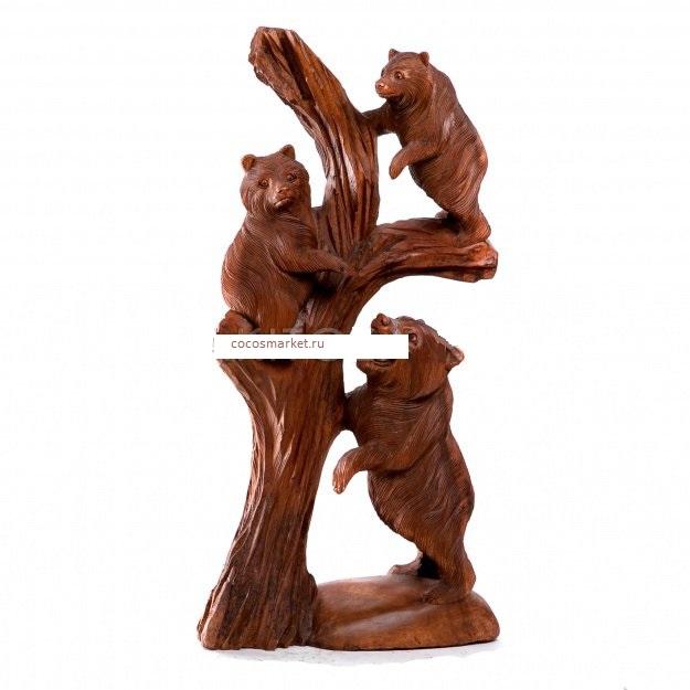 Скульптура из дерева Медведи 80 см
