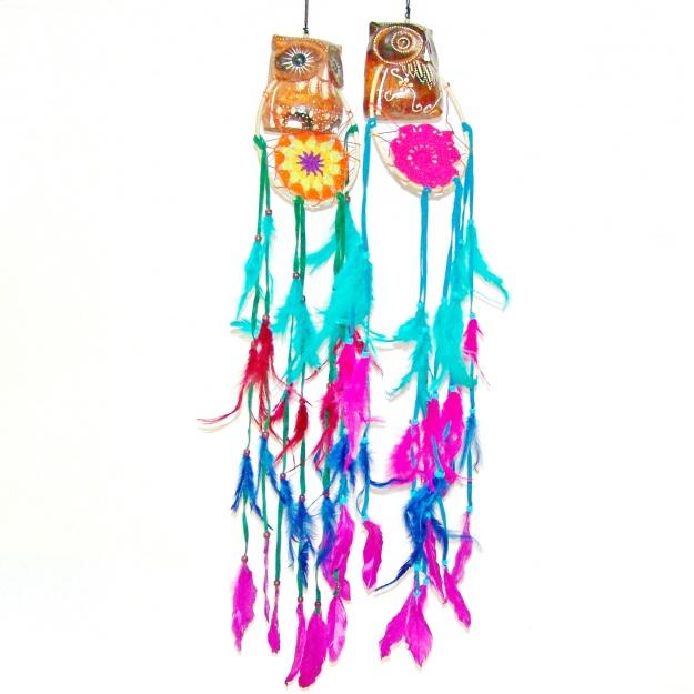 Цветной ловец снов и фигурка Сова 13 см