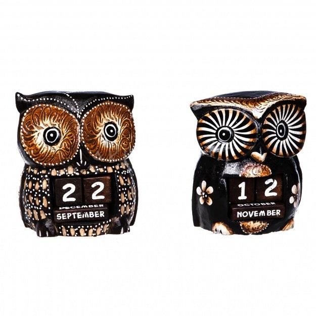 Сувенир календарь в виде совы 12 см