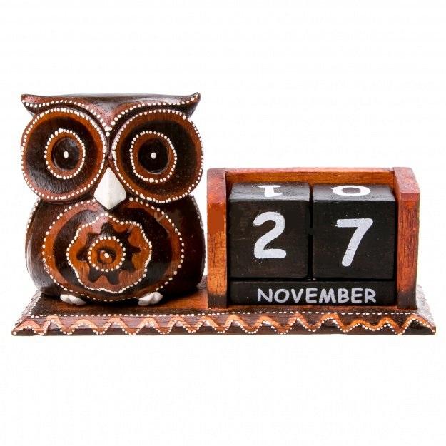 Сувенир вечный календарь с фигуркой Сова 11 см