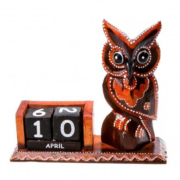 Сувенир вечный календарь и фигурка Сова 19 см
