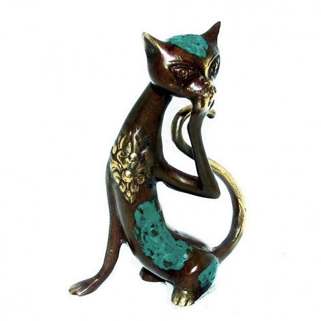 Фигурка из бронзы Изящная кошка 11 см