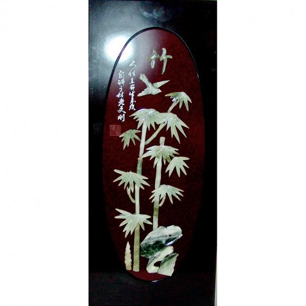 """Картина нефритовая """"Бамбук и птица"""" 40x90 см."""