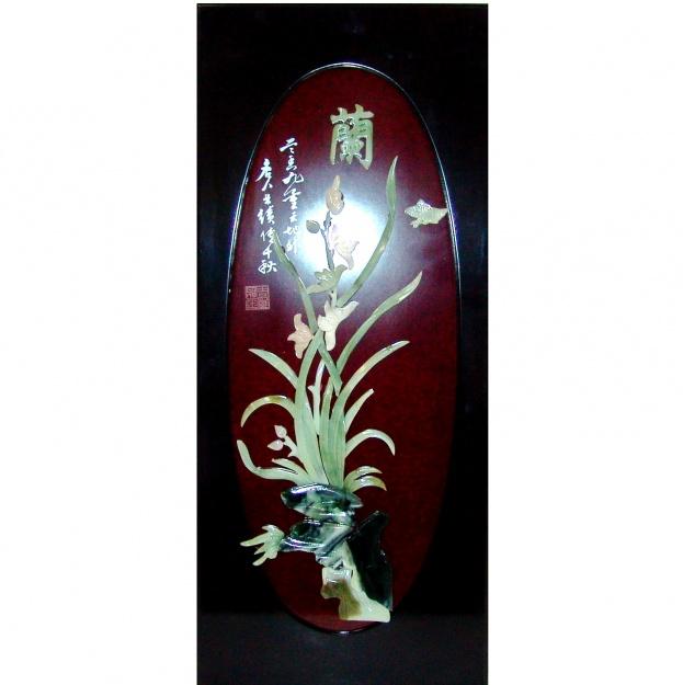 Картина нефритовая Цветы и бабочка 40х90 см.
