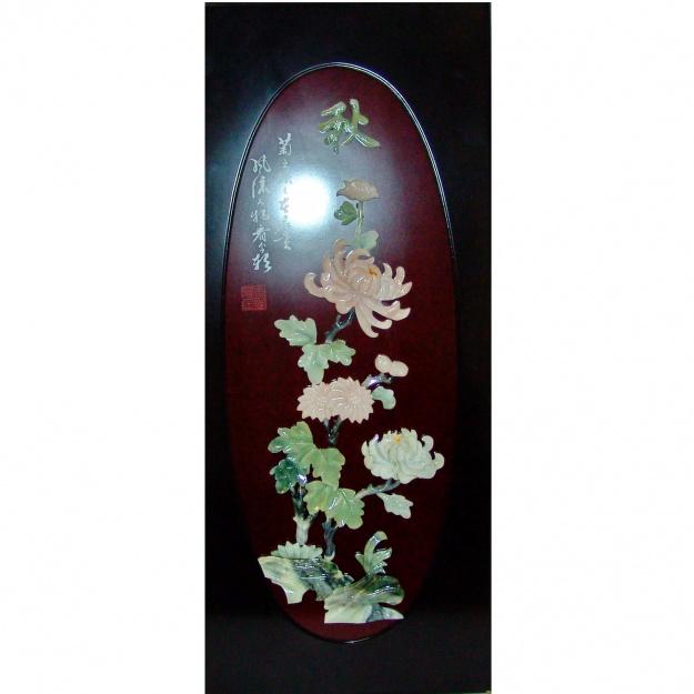 Картина нефритовая Хризантемы 40х90 см