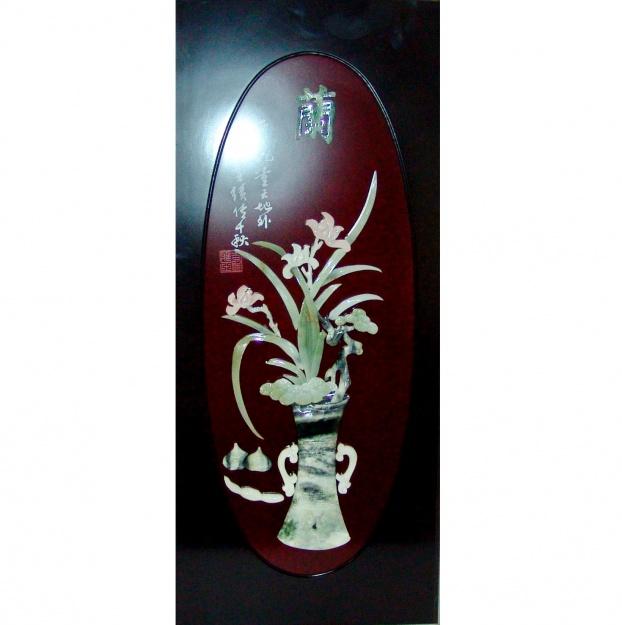 Картина нефритовая Цветы в вазе 40х90 см
