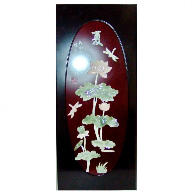 Картина нефритовая Лотос, стрекозы  40х90 см