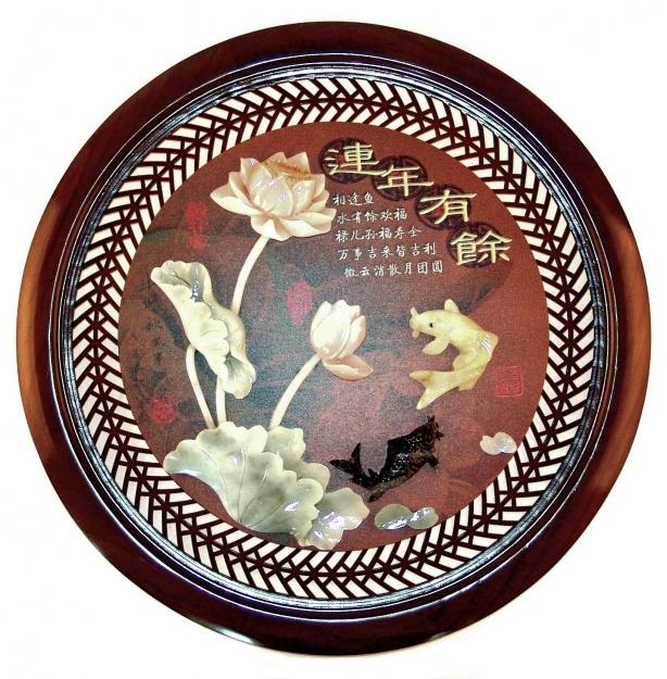 Картина круглая нефритовая 60 см. Лотос рыба