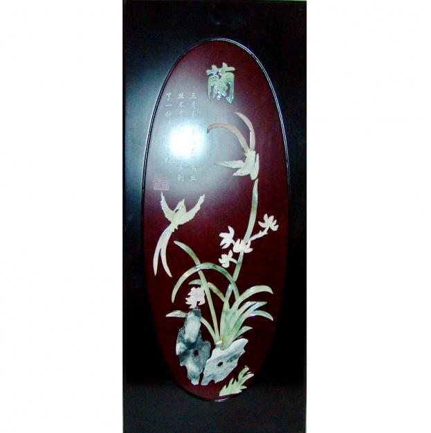 Картина нефритовая Цветы и птица 40x90 см.