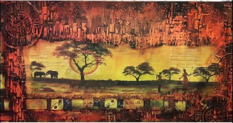 "Интерьерный холст ""Африка"" 30х60см"