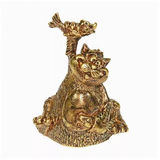 Колокольчик бронзовый Кот Рыбачок 5 см