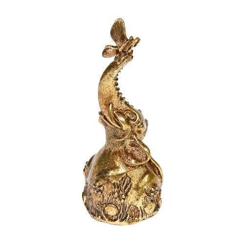 Колокольчик из бронзы Слон и бабочка 7,5 см