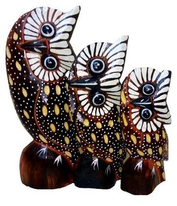 Интерьерные статуэтки совы-голова на бок  20, 18, 15см