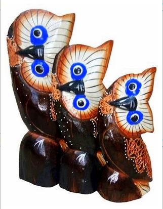 """Резные статуэтки """"Голубоглазые совы""""  20, 18, 15см"""
