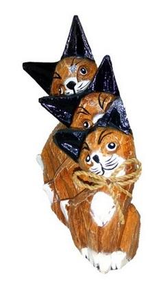 """Фигурки из дерева """"Рыжие котики"""" 15, 12, 10см"""
