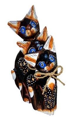 """Фигурки из дерева """"Голубоглазые коты"""" 15, 12, 10см"""