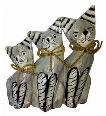"""Фигурки из дерева """"Серые котики"""" 15, 12, 10см"""