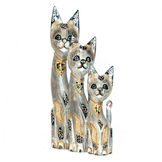 Набор статуэток Коты в белых тонах 30,40,50 см