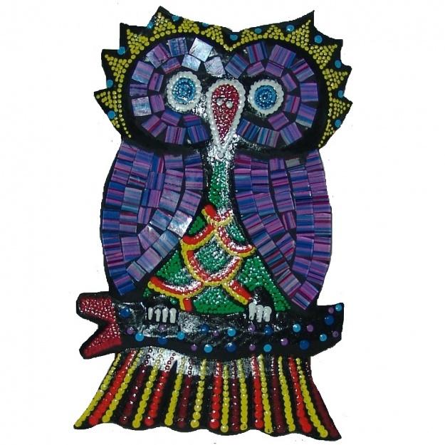 Панно Сова с зеркальной мозаикой 15x9x1 см