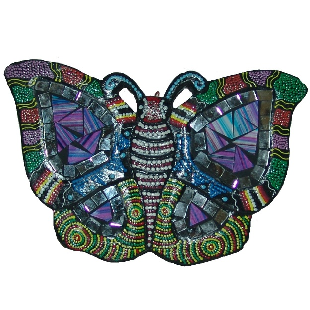Панно из дерева с мозаикой Бабочка 13x20x1 см