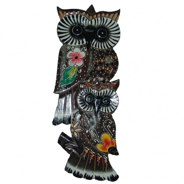 Декоративное Панно две совы 45x17 см
