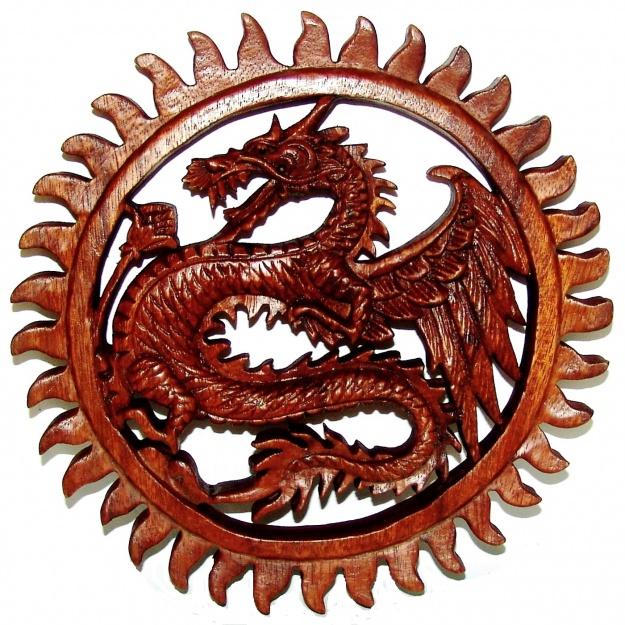 Резное Панно с Драконом 25 см