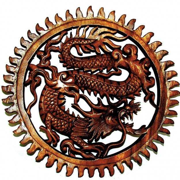 Резное Панно Огнедышащий дракон 30 см