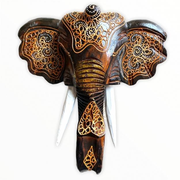 Панно резное Голова слона 40см.