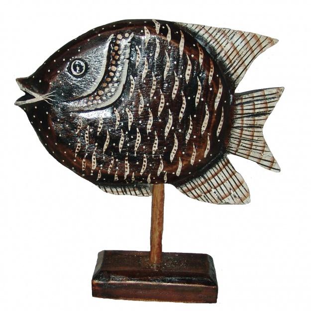 Резная фигурка 'Рыба на подставке' 30см