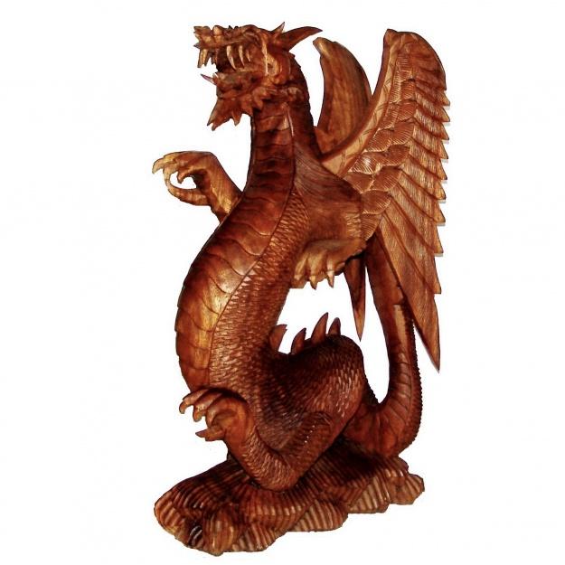 Скульптура из дерева крылатый дракон 80 см.