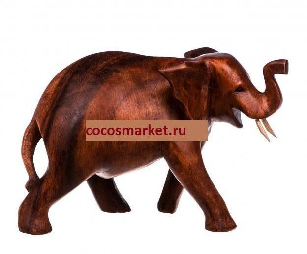 Фигурка резная слон хобот вверх 15 см