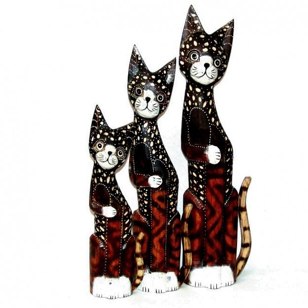 Набор фигурок из дерева Пятнистые коты 40,50,60 см