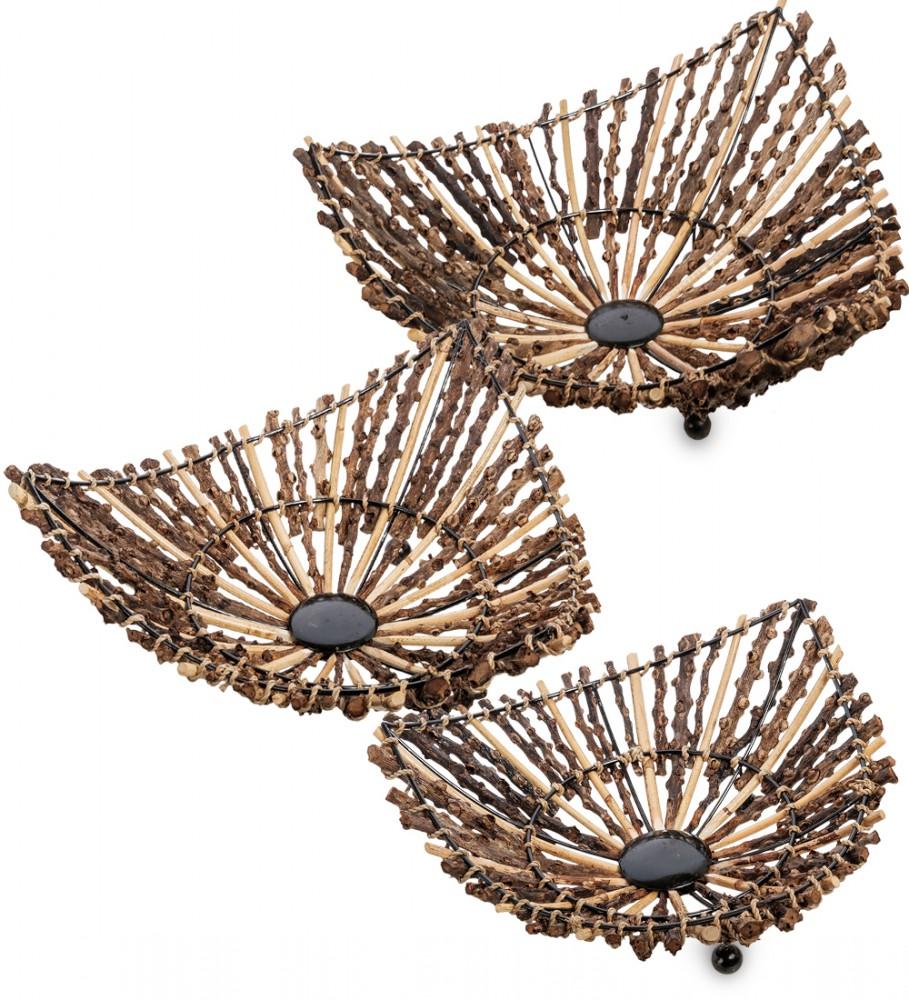 Набор треугольных плетеных тарелок 3 шт