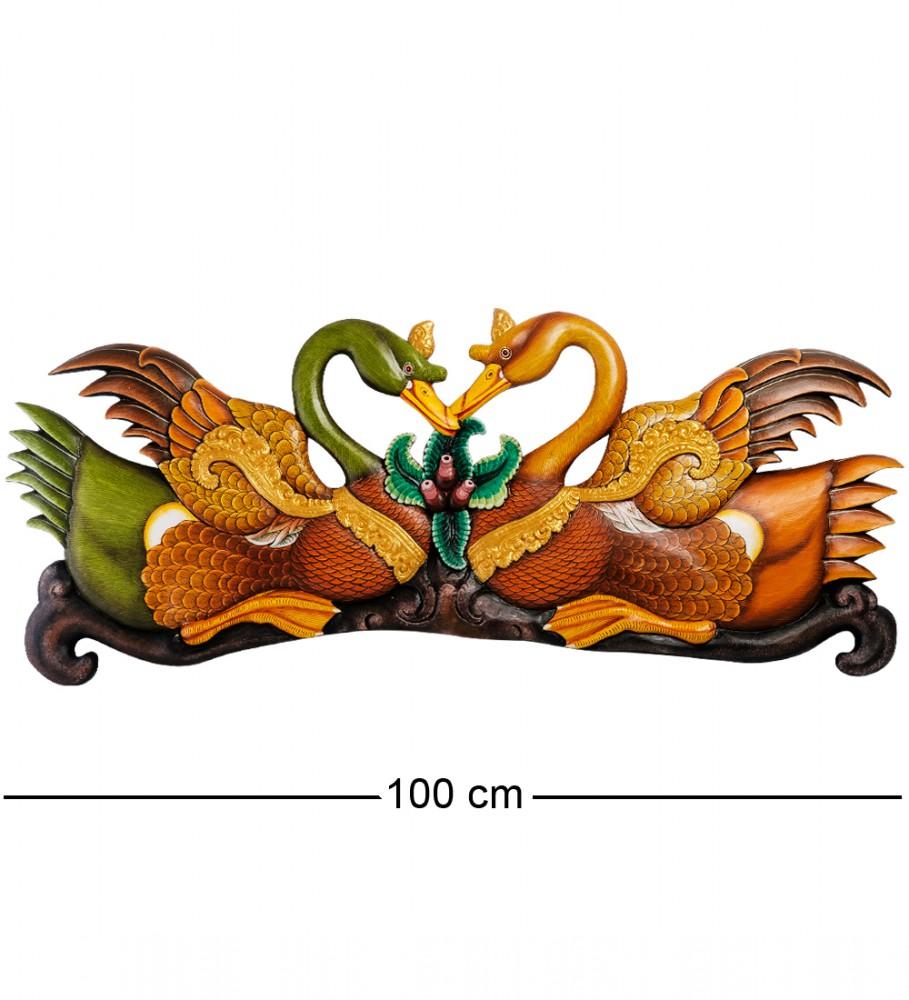 """Оригинальное резное панно """"Пара лебедей"""" 100 см"""
