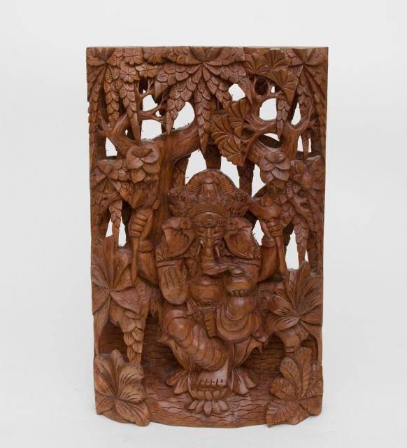 """Панно резное из дерева """"Ганеша - Бог Изобилия""""  38 см"""