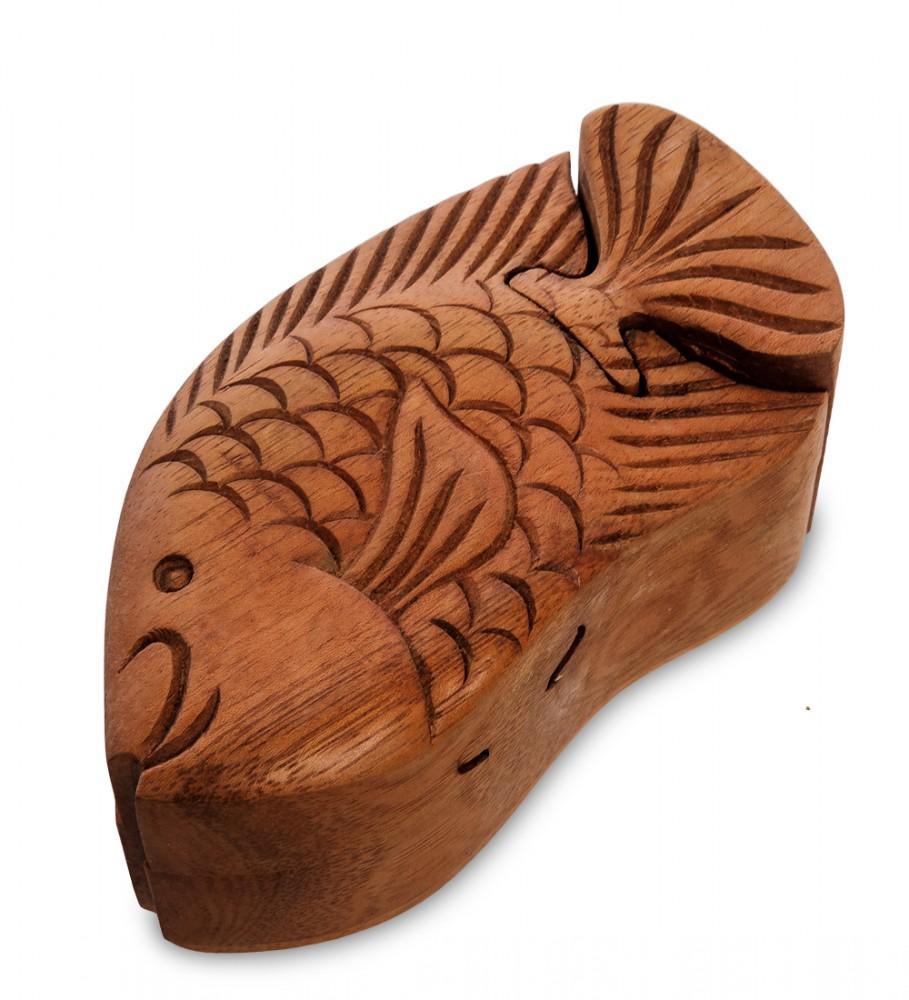 Шкатулка пазл с секретом Рыбка 13 см