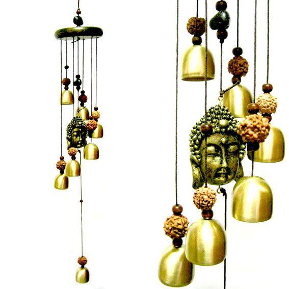 Музыка ветра с фигуркой Будды и колокольчиками  63 см
