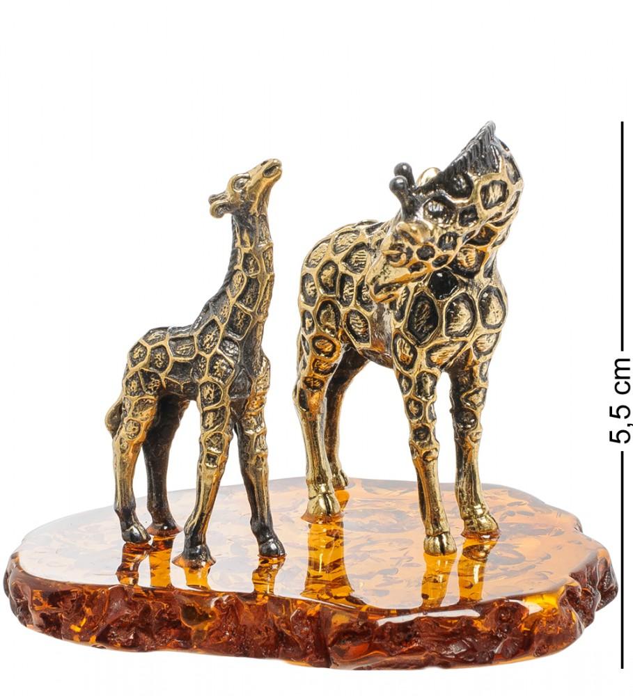 """Статуэтка из латуни и янтаря """"Жираф с малышом"""" 5,5 см"""