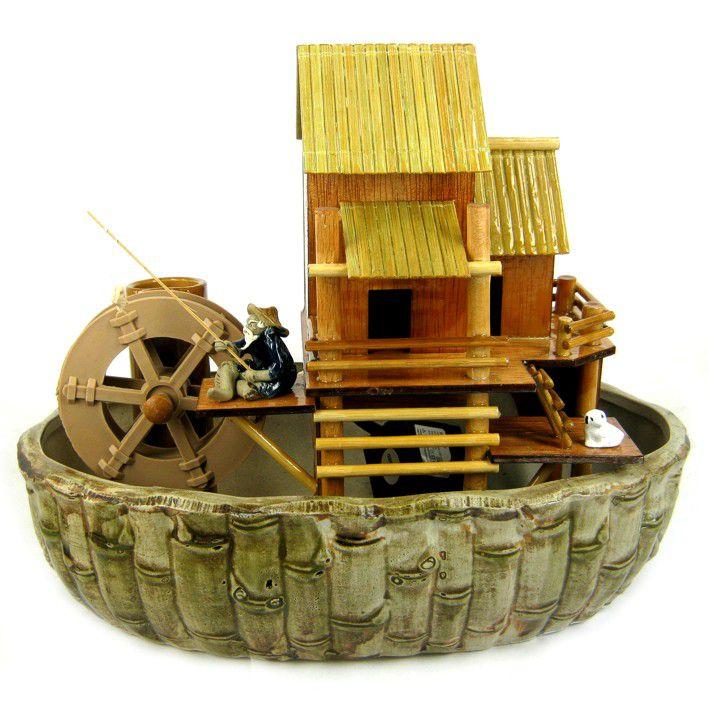 Фонтан Рыбачок (бамбук, керамика) 27 см