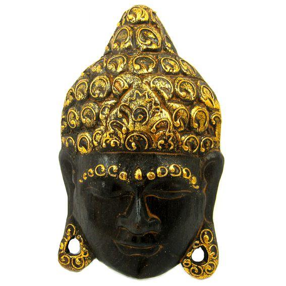 Панно из дерева с лицом Будды 30х18 см
