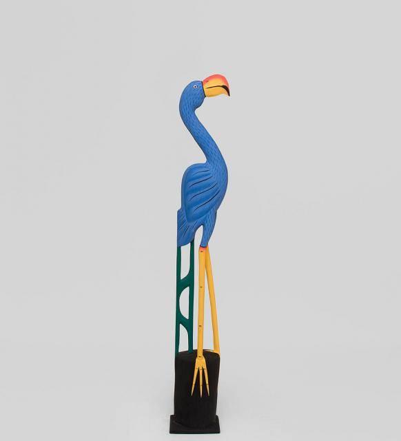 "Статуэтка из дерева  ""Голубой Фламинго"" 80см"
