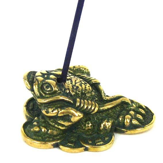 Подставка для благовоний Жаба трехлапая (бронза)  30х26х11мм