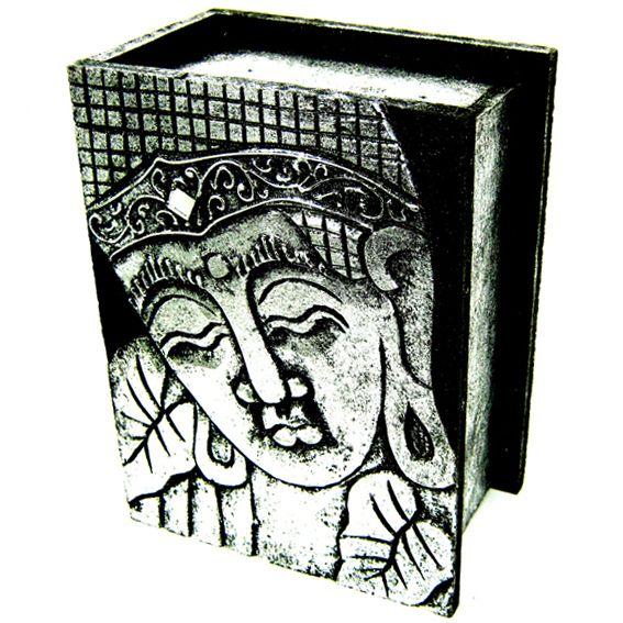 Серебрянная шкатулка с ликом Будды  19x14х9с