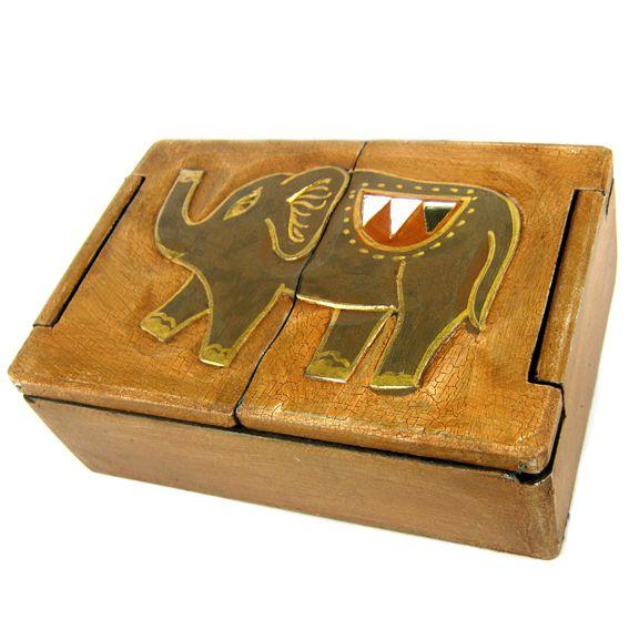 Шкатулка двухстворчатая со слоном 18х12см