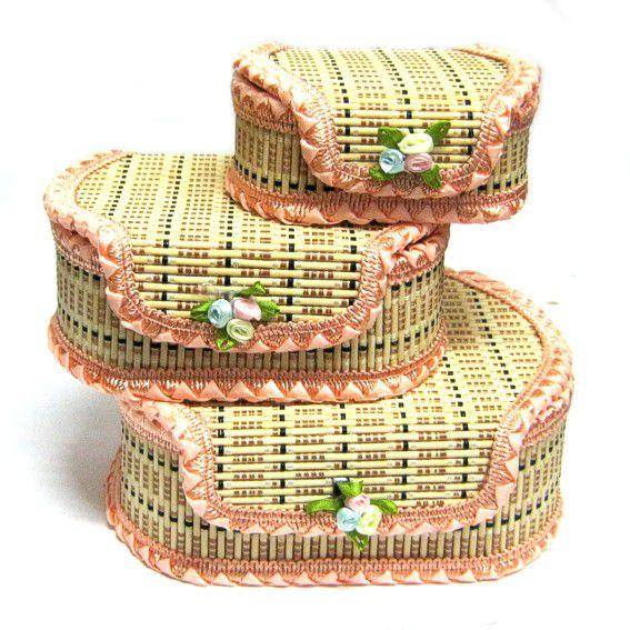 Шкатулки из соломы (3 шт) 17х13х6,5см