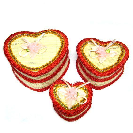 Шкатулки в виде сердца (3 шт)  15х13х8см